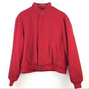 Mens Vintage Woolrich 60s Red Wool Bomber Jacket L